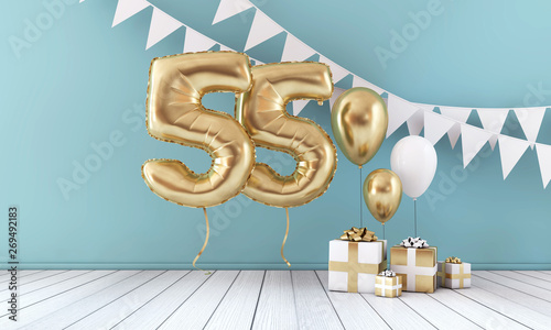 Happy 55th Birthday Party Celebration Balloon Bunting And Gift Box 3D Render