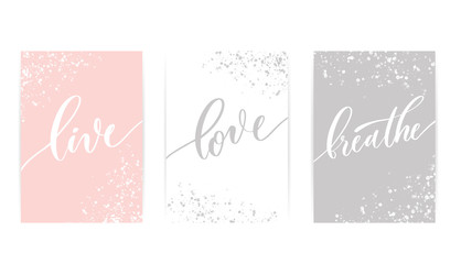 Live love breathe - set of calligraphy poster. Wall mural