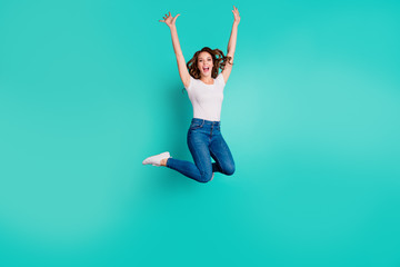 Wall Mural - Full length body size view of her she nice-looking attractive lovely cool fascinating cheerful cheery wavy-haired lady having fun time isolated on bright vivid shine blue background