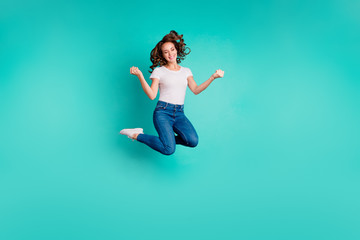 Wall Mural - Full length body size view of her she nice-looking attractive lovely cheerful cheery wavy-haired lady having fun time day summer isolated on bright vivid shine blue background