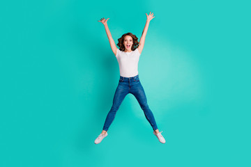Wall Mural - Full length body size view of nice-looking attractive lovely cheerful cheery carefree slim fit thin slender wavy-haired lady having fun life lifestyle isolated on bright vivid shine blue background