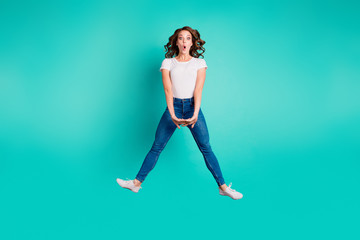 Wall Mural - Full length body size view of her she nice attractive cheerful cheery carefree careless foolish slim fit thin wavy-haired lady having fun fooling isolated on bright vivid shine blue background