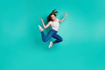 Wall Mural - Full length body size view of nice attractive lovely carefree sportive slim fit thin crazy cheerful cheery overjoyed wavy-haired lady having fun isolated on bright vivid shine blue background