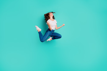 Wall Mural - Full length body size view of nice attractive lovely sporty sportive slim fit crazy cheerful cheery overjoyed wavy-haired lady having fun isolated on bright vivid shine blue background