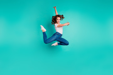 Full length body size view of her she nice attractive lovely graceful professional sportive slim fit thin wavy-haired lady practicing modern art isolated on bright vivid shine blue background Wall mural