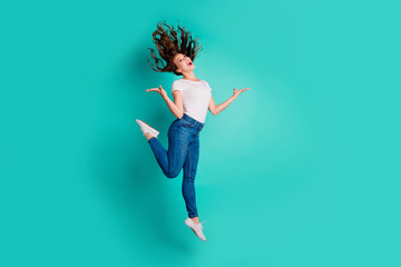 Wall Mural - Full length body size view of nice-looking attractive lovely winsome cheerful cheery wavy-haired lady having fun rejoice best luck isolated on bright vivid shine blue background