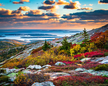 Cadillac Mountain in Acadia National Park in Fall