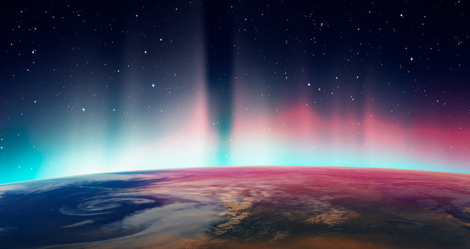 "Northern lights aurora borealis over planet Earth ""Elements of this image furnished by NASA"""