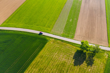 aerial view of farmland in the swabion forest in Germany
