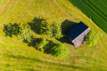 Fotoväggar - aerial view of farmland in the swabion forest in Germany