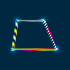 Trapezoid frame with colorful multi-layered outline and glowing light effect on blue background
