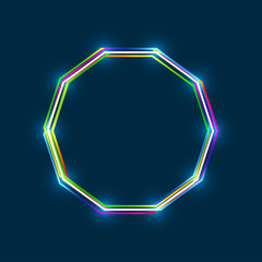 Decagon frame with colorful multi-layered outline and glowing light effect on blue background