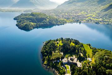 Abbazia di Piona - San Nicola - Lago di Como (IT) - Priorato - Panoramica aerea