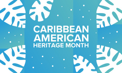 Caribbean American Heritage Month in June. Culture Month to the people of America. Celebrate annual with festival. Happy holiday. Poster, card, banner and background. Vector ilustration