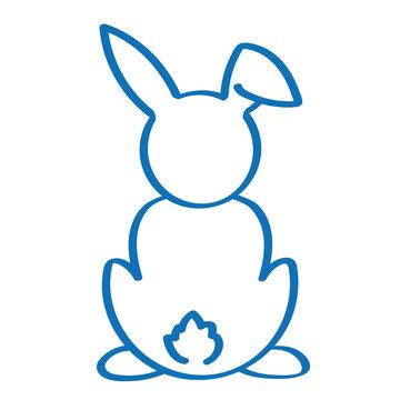 Handgezeichneter Hase von hinten in dunkelblau