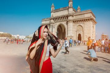 Mumbai, India;05/19/2019; Beautiful woman in saris clothe in mumbai , India