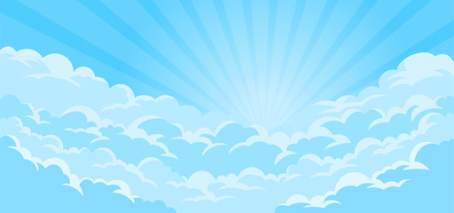 Simple sky background with clouds and sun