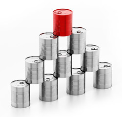 Tower of tin cans with one red can isolated on white background. 3D illustration