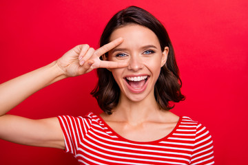 Wall Mural - Clolse up photo of charming nice attractive lady have holidays relax rest relax make place v-signs face optimistic satisfied glad content wear fashionable youth isolated bright background