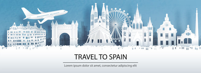 Fototapete - Travel advertising with travel to Spain concept with panorama view of Barcelona city skyline and world famous landmarks in paper cut style vector illustration.