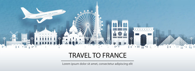Fototapete - Travel advertising with travel to France concept with panorama view of Paris city skyline and world famous landmarks in paper cut style vector illustration.