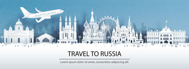 Fototapete - Travel advertising with travel to Russia concept with panorama view of city skyline and world famous landmarks in paper cut style vector illustration.