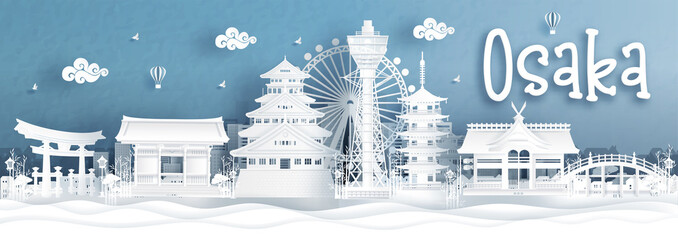 Fototapete - Panorama view of Osaka city skyline with world famous landmarks of Japan in paper cut style vector illustration.