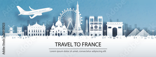 Fototapete Travel advertising with travel to France concept with panorama view of Paris city skyline and world famous landmarks in paper cut style vector illustration.