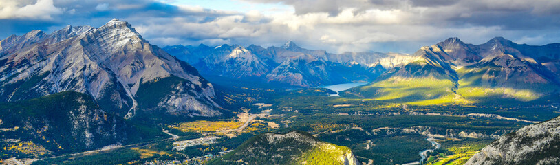 Wall Mural - Panorama view over the town of Banff and the Canadian Rockies seen from Sulphur Mountain.You can go to the mountaintop with a gondola.