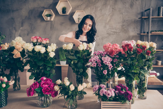 Portrait of her she nice attractive lovely charming winsome cheerful wavy-haired lady garden bunch care small domestic house salon fashion hobby concrete wall hydrangeas chrysanthemums workplace