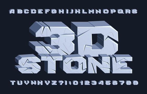 3D stone alphabet font. Cracked letters and numbers. Stock vector typescript for your typography design.
