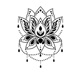 Mehndi Lotus flower pattern for Henna drawing and tattoo. Vector decoration in ethnic oriental, Indian style.