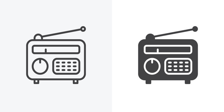 Retro radio icon. line and glyph version, outline and filled vector sign. Old radio with antenna linear and full pictogram. Symbol, logo illustration. Different style icons set