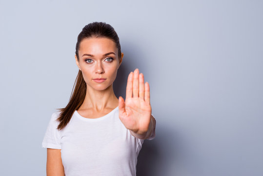 Close up photo amazing beautiful she her lady arm hand one palm raised up not allow go step next violence stop war make love calling wear casual white t-shirt clothes isolated grey background