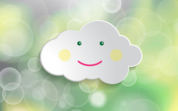 beautiful spring green natural baby shower banner light background with happy smile white paper cloud