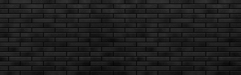 Panorama of Modern black brick wall texture for background