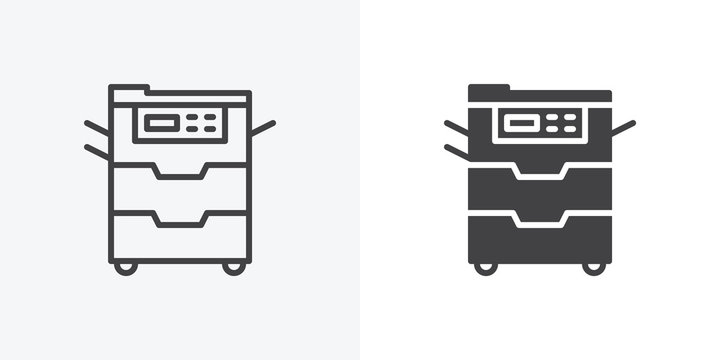 Office Copy machine icon. line and glyph version, Document copier outline and filled vector sign. linear and full pictogram. Symbol, logo illustration. Different style icons set