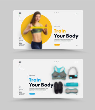 UI Design of the vector page of the website for the coach or gym.