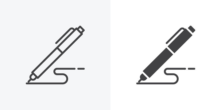 Pen, write icon. line and glyph version, Signature pen outline and filled vector sign. linear and full pictogram. Symbol, logo illustration. Different style icons set