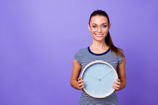 Portrait charming cute nice lady specs fashionable hold hand striped spring clothing look time use career missed positive cheerful positive satisfied enjoy weekend isolated purple violet background