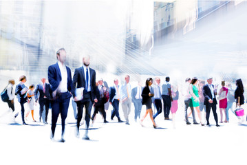 Business people rushing in the City. Beautiful abstract blurred image representing modern business life, success, moving concept. Fototapete
