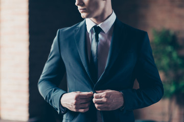 Cropped close up photo perfect fashion look handsome he him his thoughtful keep silence calm self-confident button up jacket wear formal-wear shirt tie suit costume indoors modern office place Fotobehang