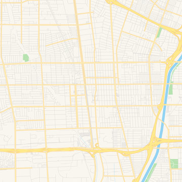 Empty vector map of Compton, California, USA