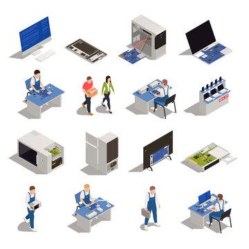 Warranty Service Isometric Icons
