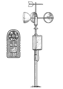 Anemometer illustration, drawing, engraving, ink, line art, vector