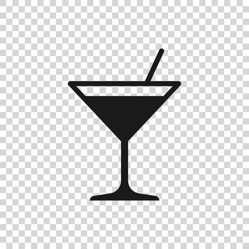 Grey Martini glass icon isolated on transparent background. Cocktail icon. Wine glass icon. Vector Illustration