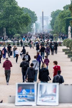 Streetview of Champs d'Elysees from Louvre Museum Paris