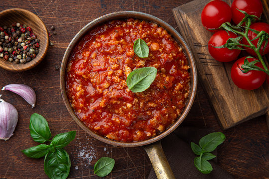 Traditional italian Bolognese sauce in saucepot