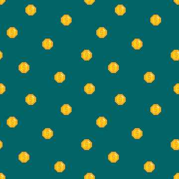 Seamless pattern background with gold pixel coins, money.