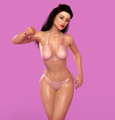 Attraktive Frau posiert im Bikini